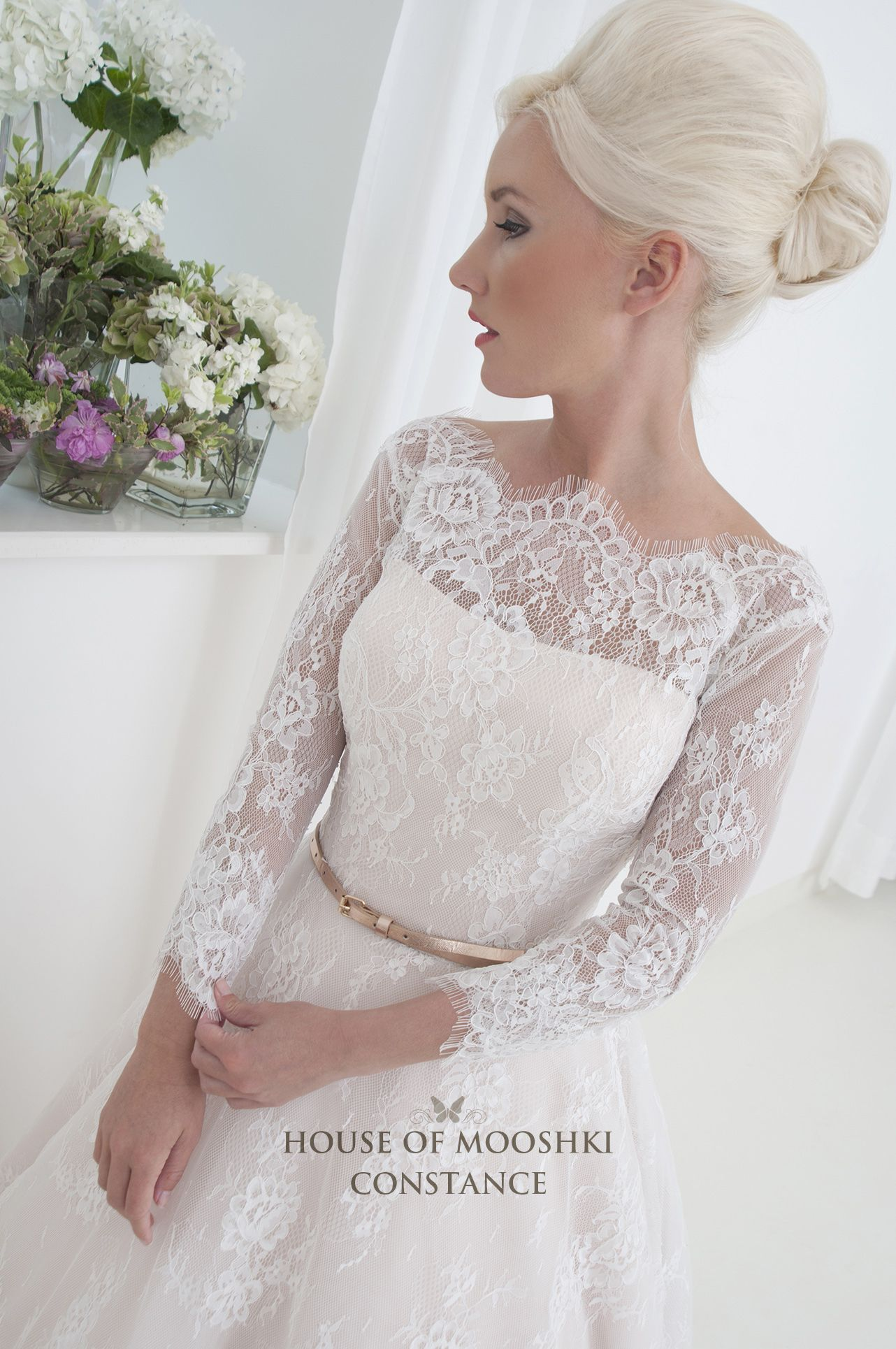 Blush satin ivory french lace hilow wedding dress with