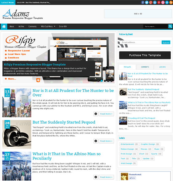 This responsive Blogger template offers a featured post