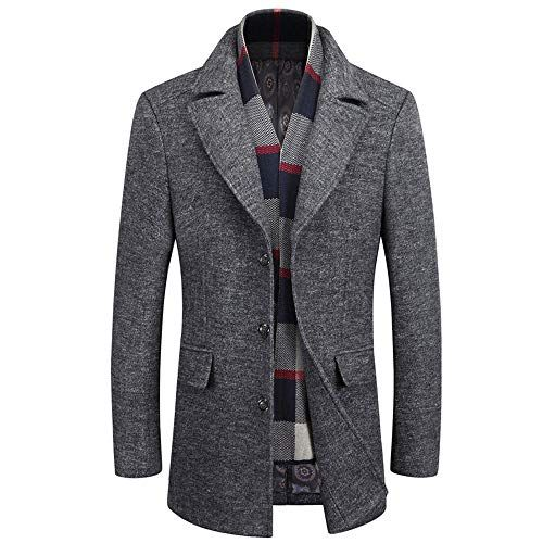 Mordenmiss Mens Quilted Wool Coat Slim Fit Single Breasted Thick Walker Coat with Romveable Collar