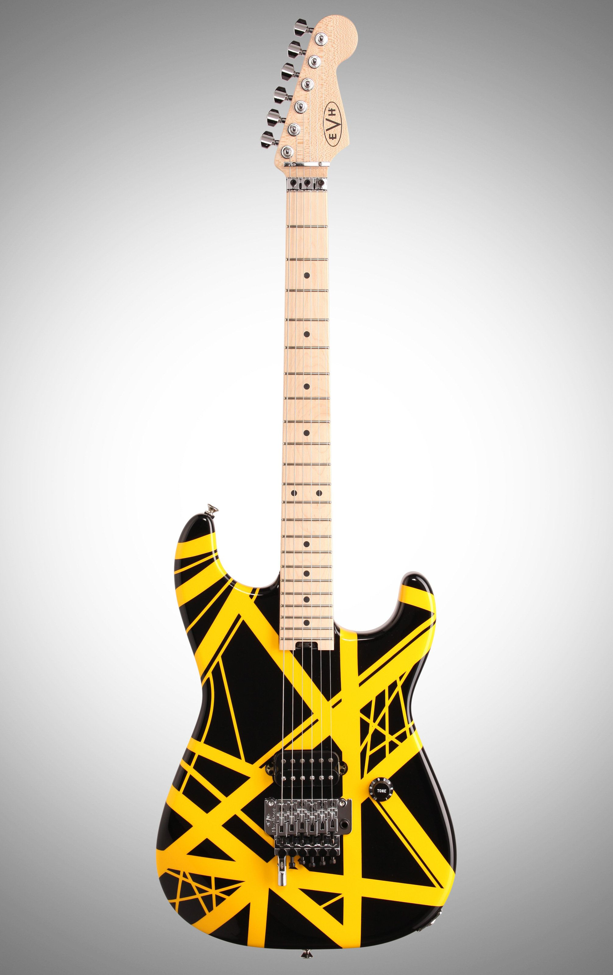 Evh Eddie Van Halen Striped Series Electric Guitar Black And Yellow Electric Guitar Guitar Bass Guitar