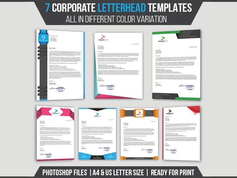 Corporate Letterhead Templates Pack Download  Letterhead Template