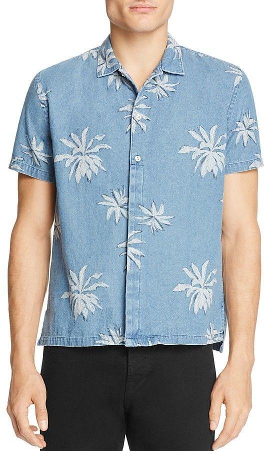 Barney Cools Fern-Print Regular Fit Button-Down Shirt