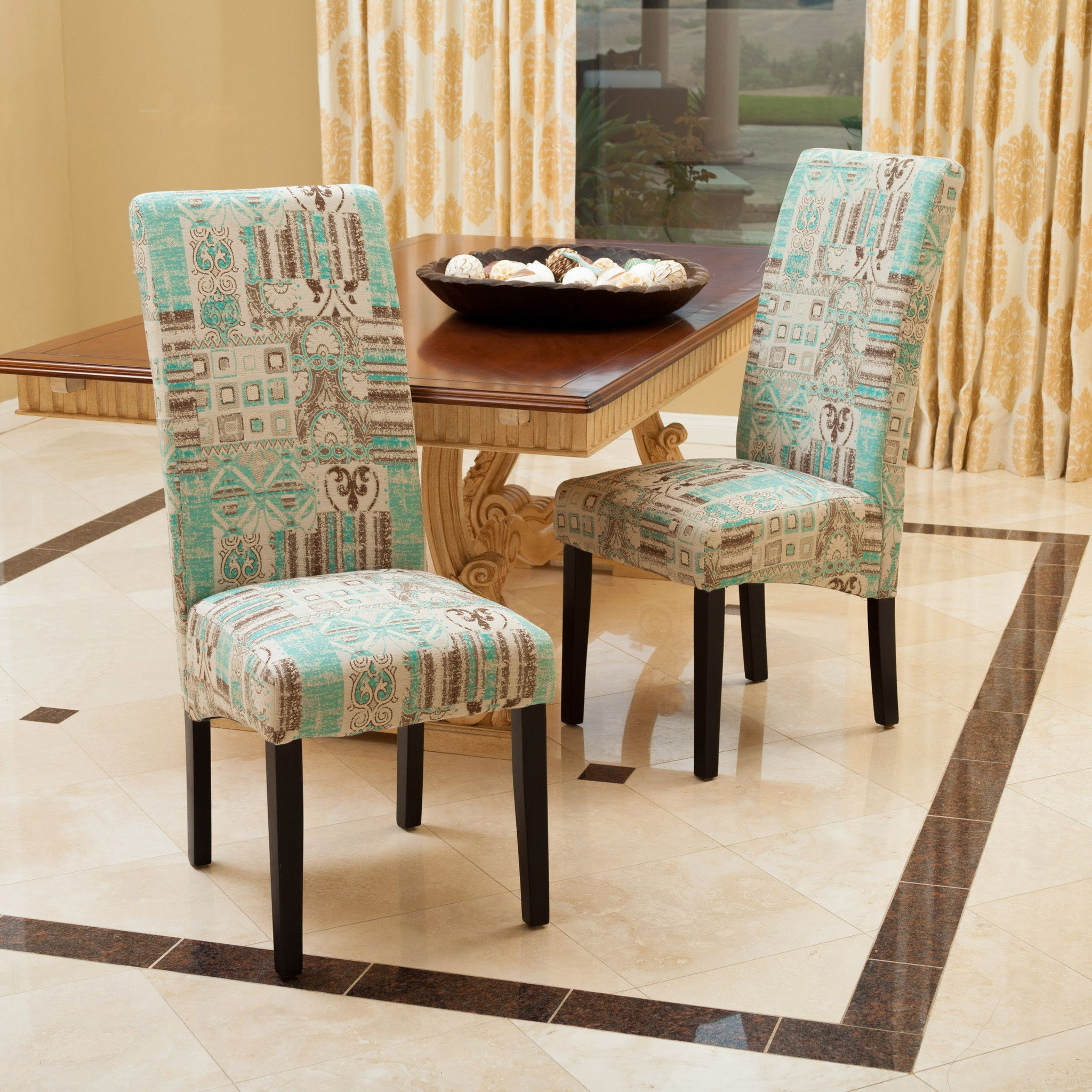 India Geometric Teal Fabric Dining Chairs (Set of 2) | Fabric dining ...