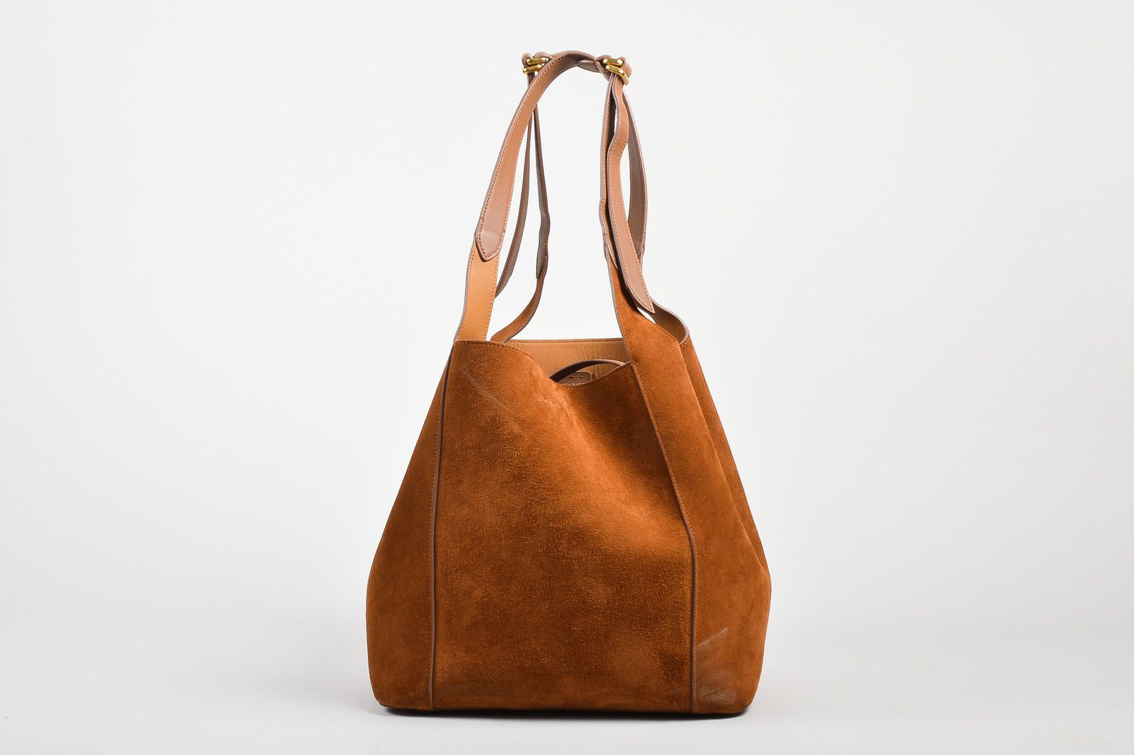 """Nina Ricci $2190 Almond Brown Suede Leather """"Faust"""" Bucket Bag w Pouch 