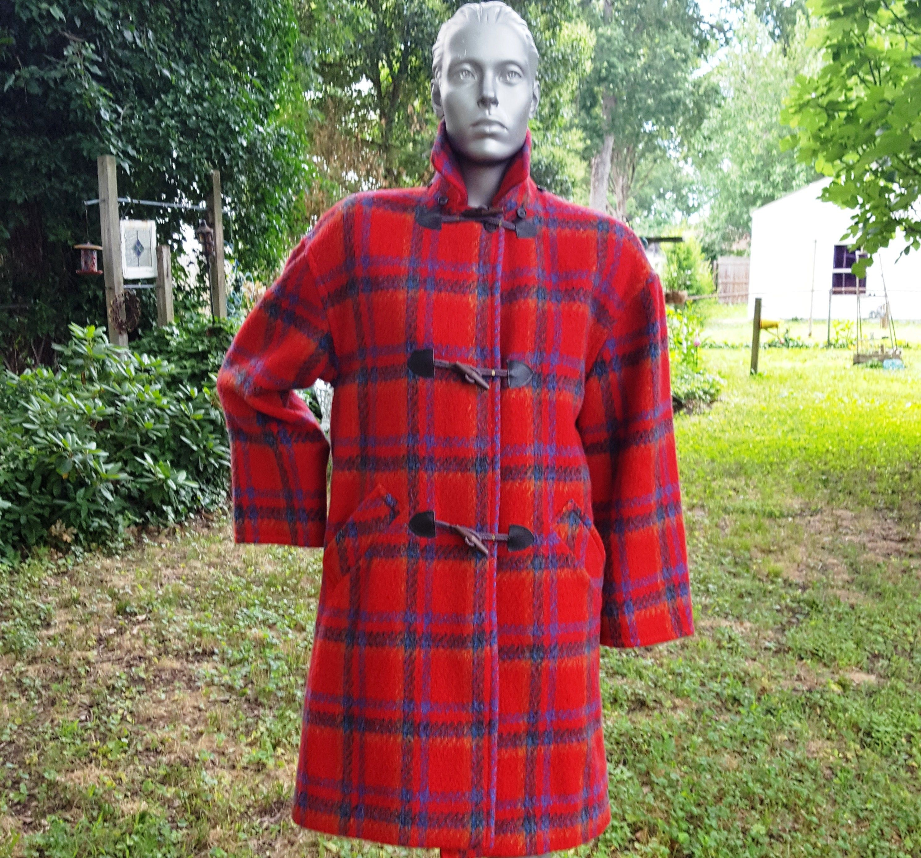 Double-Breasted Red Heather Green Black Tartan Knee-Length Dress 12 UK Size 8 US Scotch Plaid Dress with Black Velvet Collar and Cuffs