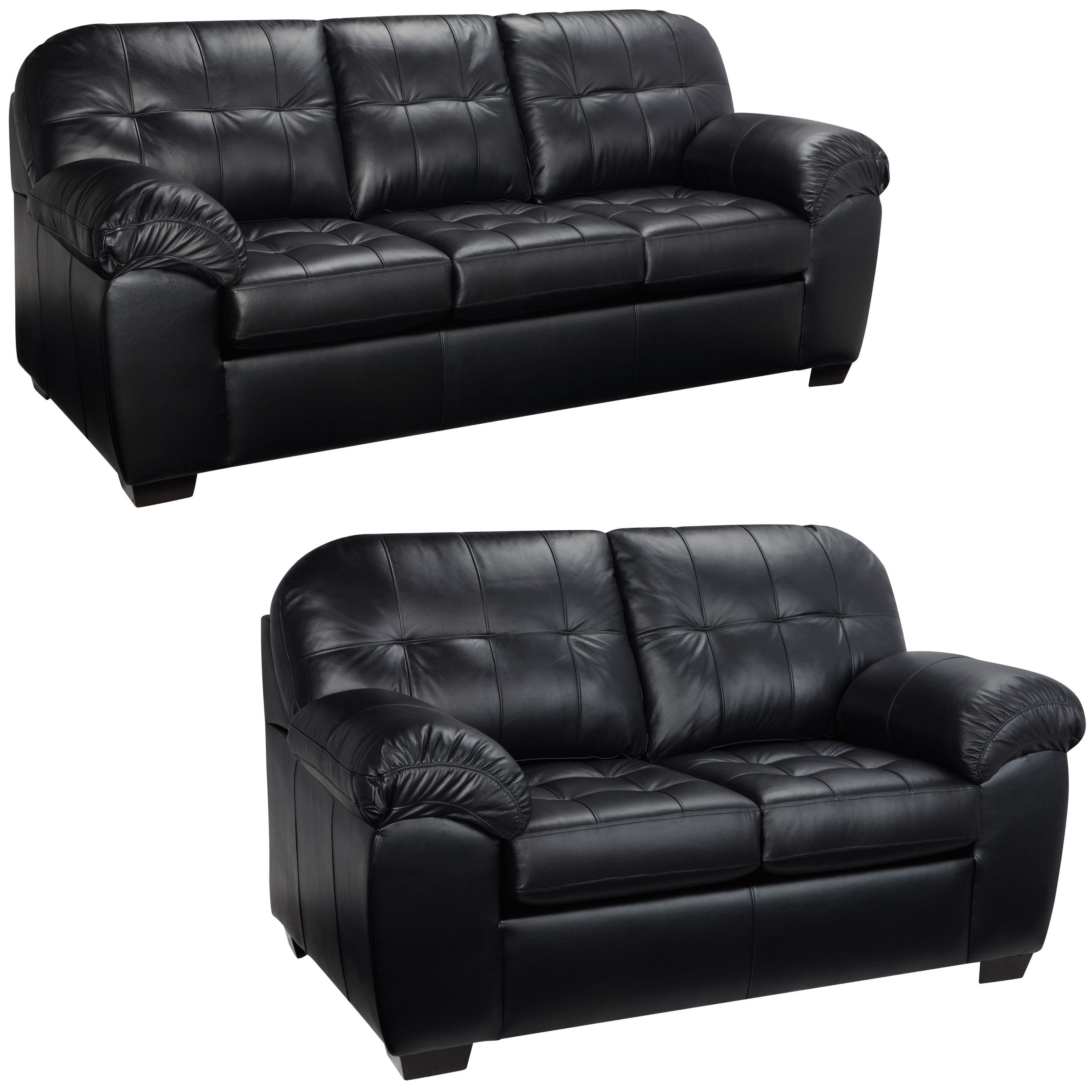 Emma Black Italian Leather Sofa and Loveseat Foam