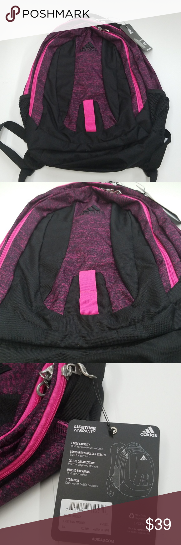 1904366757d80b Adidas Travel Gym Backpack NEW ADIDAS Large Capacity School Travel Gym  Backpack Black Pink 17