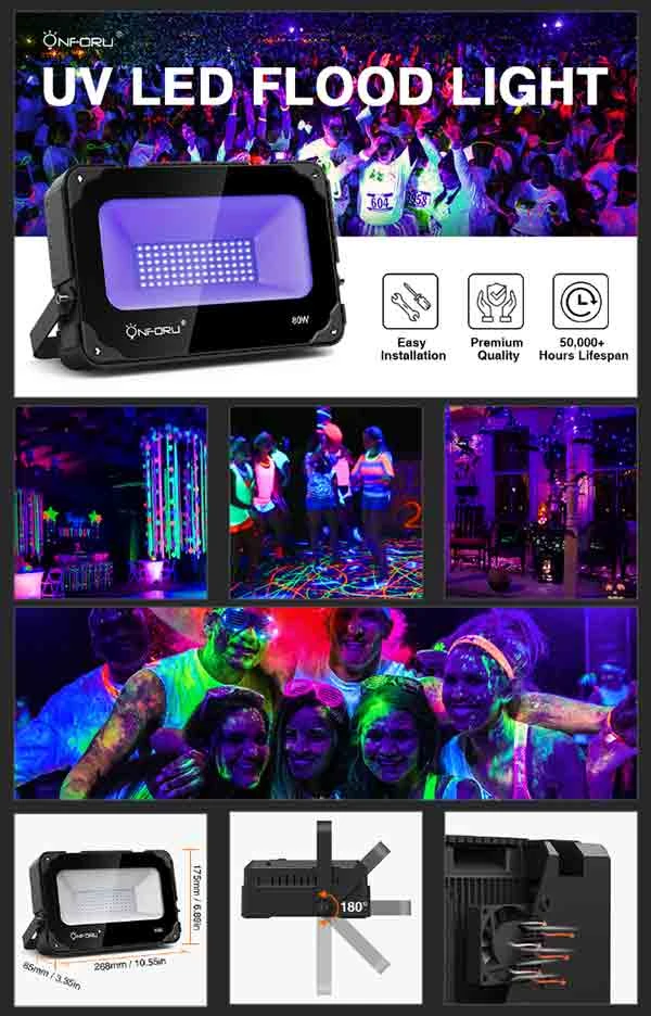 Aquarium UV Flood Light with Plug for Dance Party Onforu 80W UV LED Black Light with Cooling Fan Body Paint Stage Lighting Fluorescent Poster Neon Glow Glow in The Dark