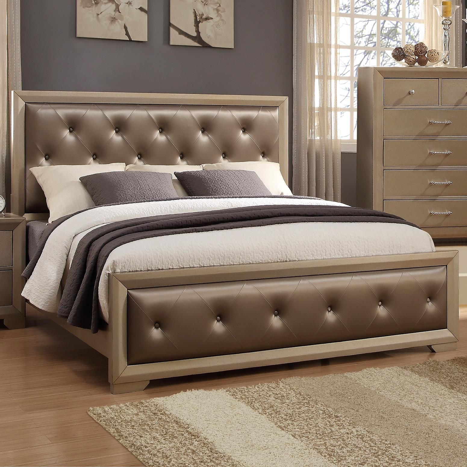 Fontaine California King Upholstered Bed With Golden Metallic Frame By Del Sol Cm King Bedroom