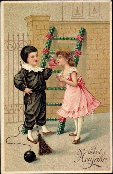 Präge Ak Glückwunsch Neujahr, Schornsteinfeger, Kleeblätter, Mädchen
