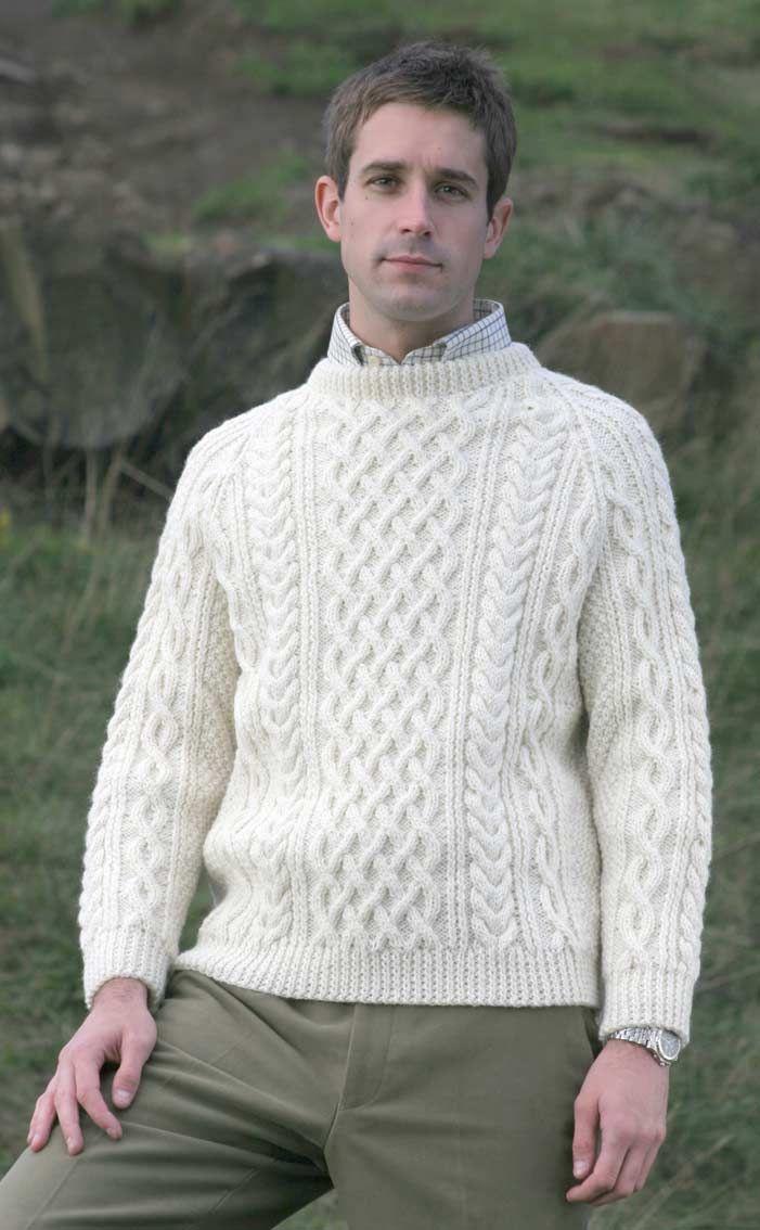 c30b95f84 Gents Hand Knitted Luxury Aran Sweater - Torridon by Scotweb Tartan Mill