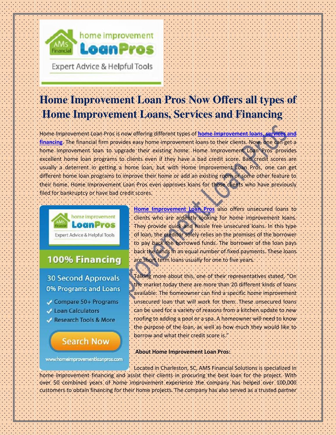 Home improvement loan pros now offers all types of home improvement loans   services and financing. Home improvement loan pros now offers all types of home