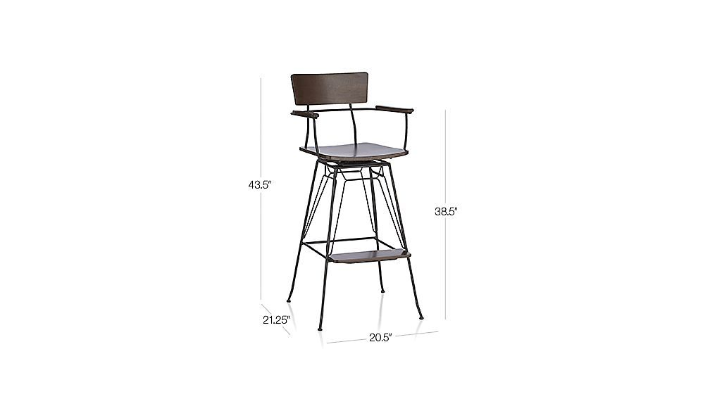 Image With Dimension For Elston Swivel Bar Stool Swivel Bar Stools Bar Stools Stool