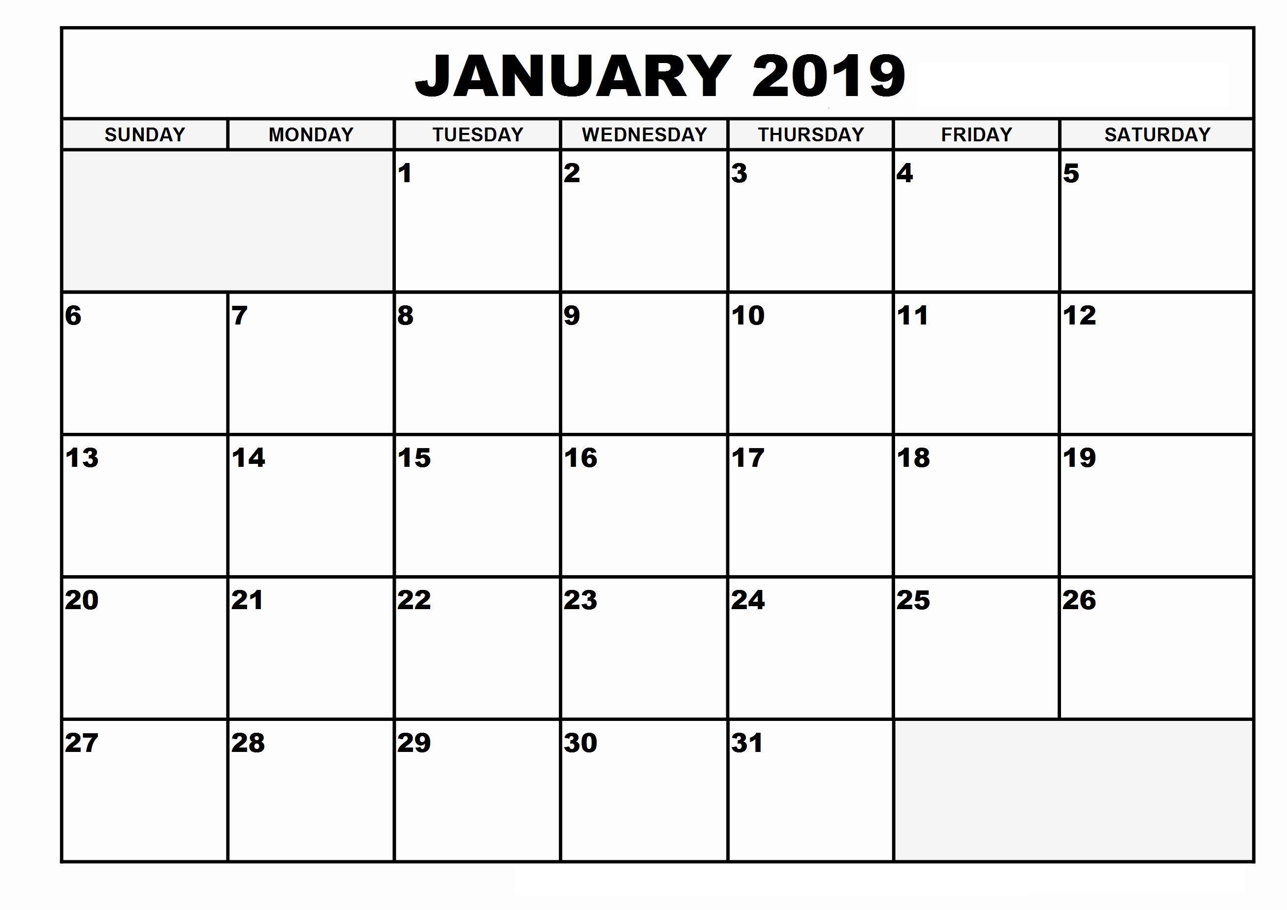 January Calendar Template Dates Printable