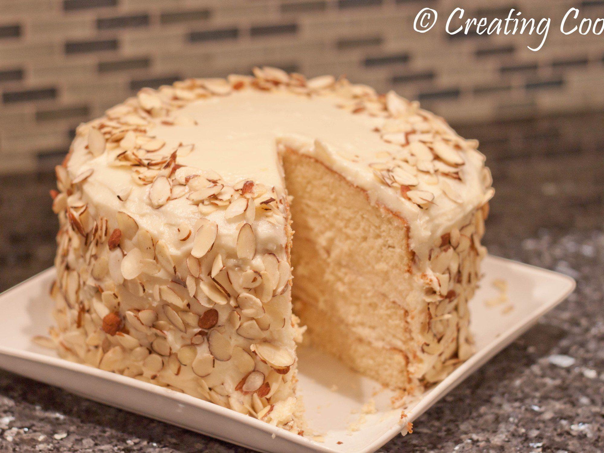 Amaretto cake with amaretto buttercream amaretto cake