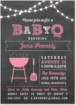 Babyq Lights Pink Baby Shower Chalkboard Invitations  Girl Baby