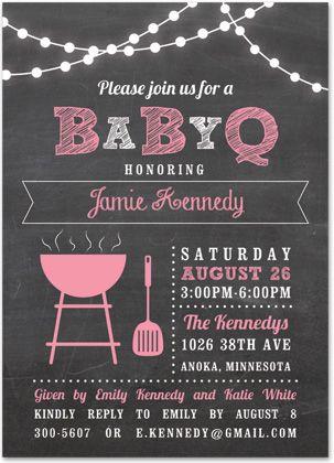 Babyq Lights Pink Baby Shower Chalkboard Invitations  Girl Baby