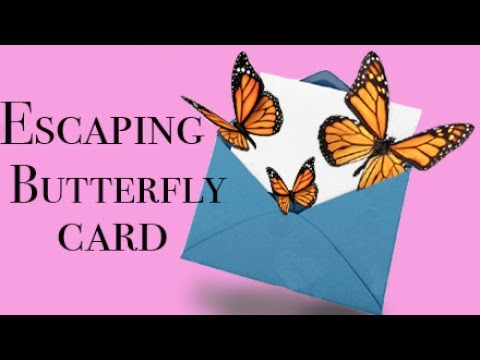 18 Escaping Butterfly Card Diy Youtube Flying Butterfly Card Butterfly Cards Paper Butterflies