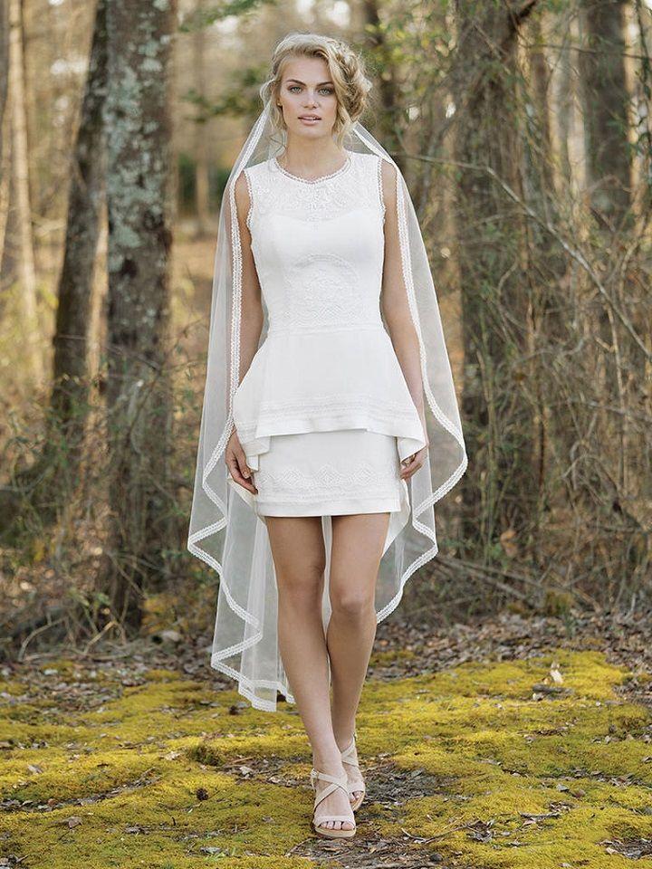 Lillian West Wedding Dresses Spring 2017 { Boho Chic Wedding Dresses }High-Low Mini Dress with High Neck and Keyhole Back | itakeyou.co.uk #weddingdress #weddingdresses