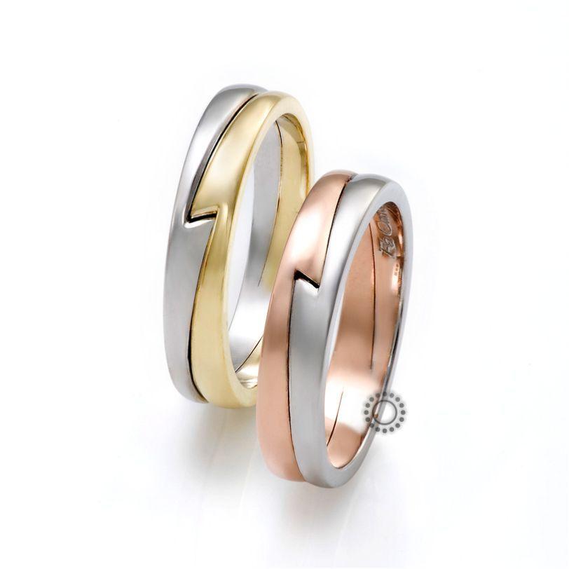 c21aecb3f3 Diamond Jewellery. Gold Jewellery. Βέρες γάμου FaCadoro 21Α 21Γ - Πολύ  πρωτότυπες δίχρωμες βέρες από τη FaCadoro
