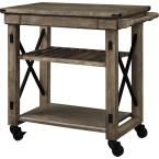 Altra Furniture Wildwood 39 in. W Wood Veneer Rolling Kitchen Cart in Rustic Gray 5279096PCOM at The Home Depot - Mobile