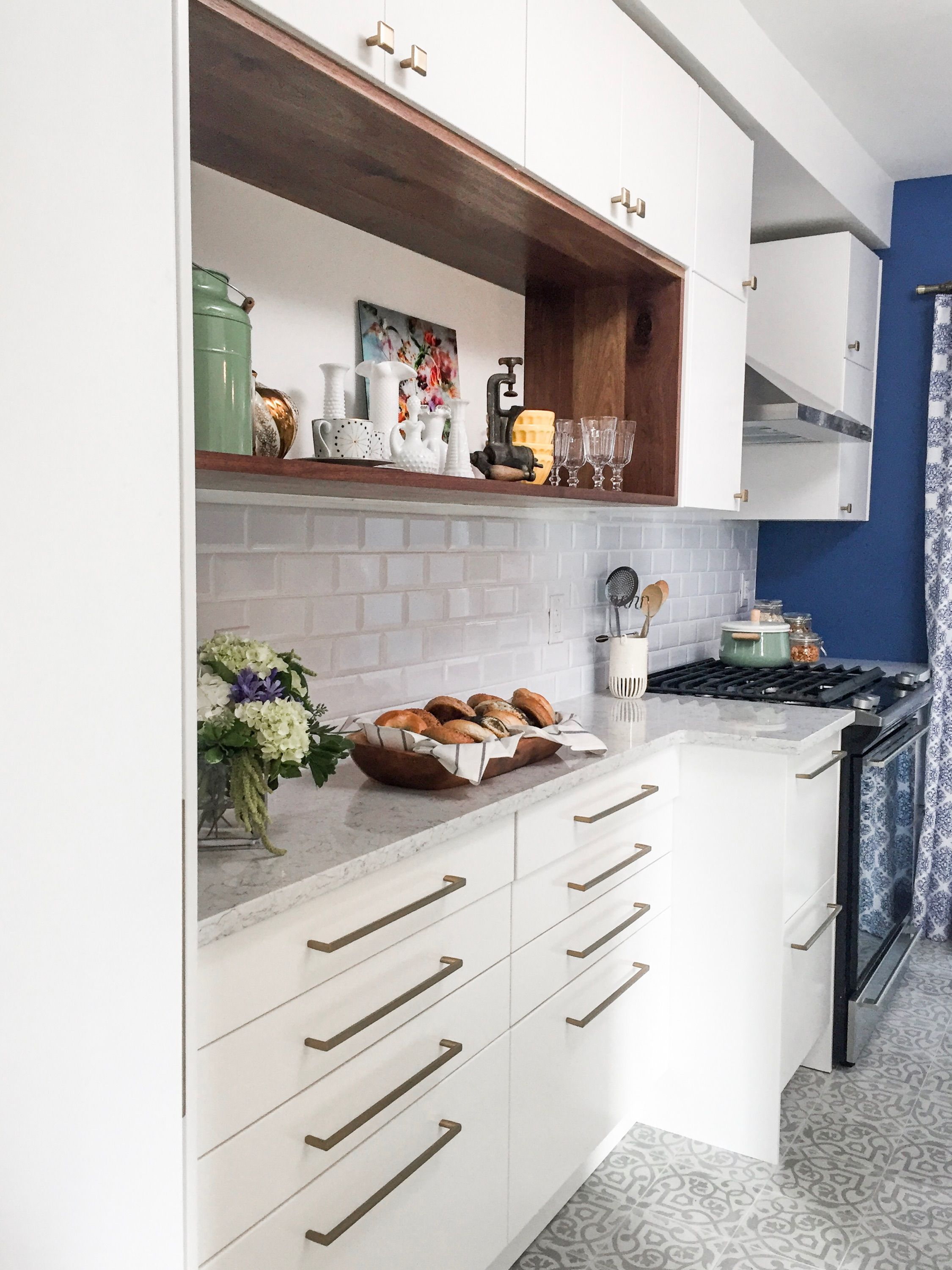 White Cabinets White Counters Wood Inset And Blue Accent Walls Love These Very Neutral Victorian Kitchen Modern White Kitchen Cabinets White Modern Kitchen