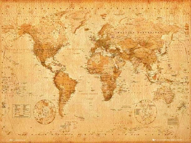 World Map - Latest Edition in Old Antique Style (all the new - new antique world map images