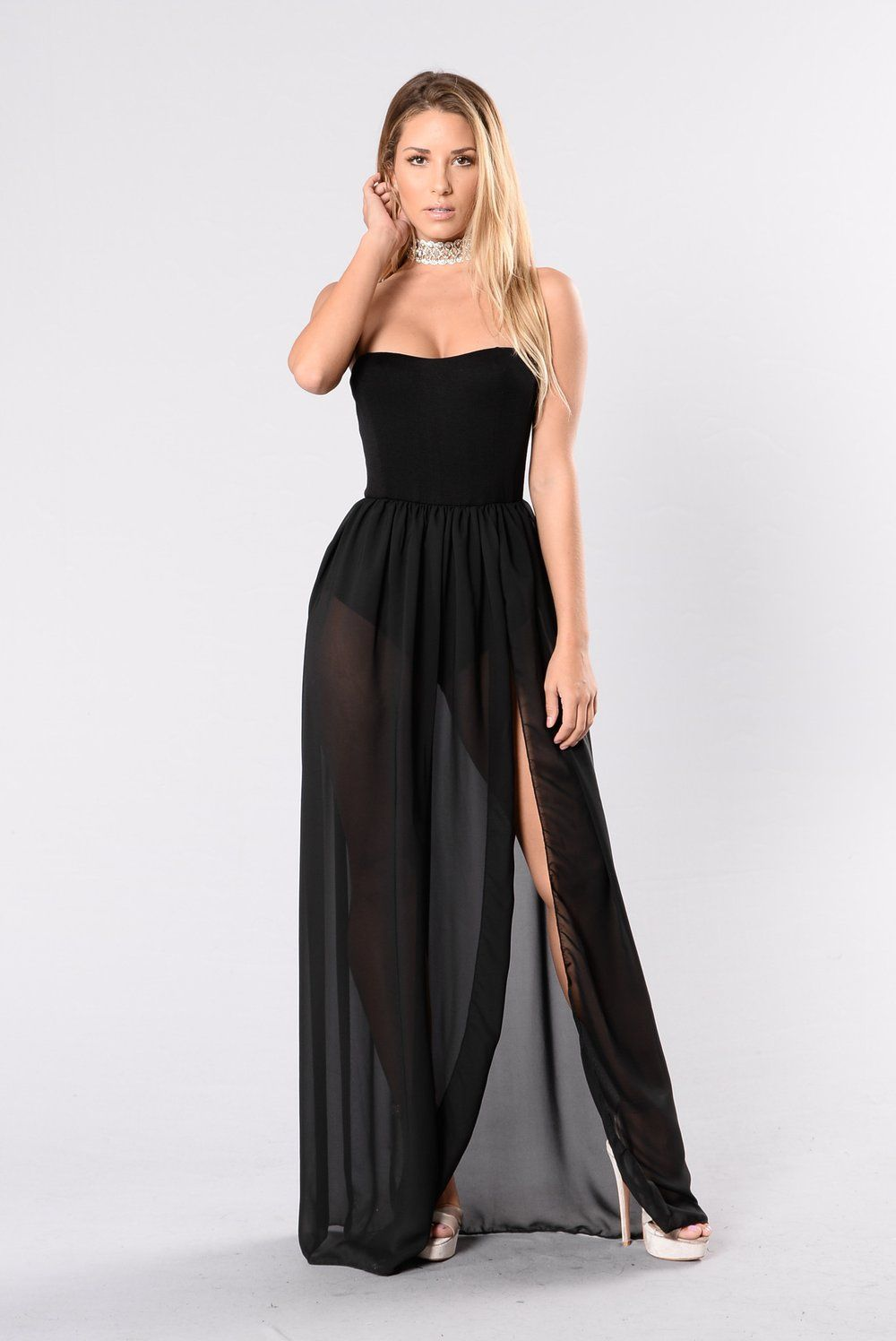 Exhibit a dress black dresses white strapless maxi