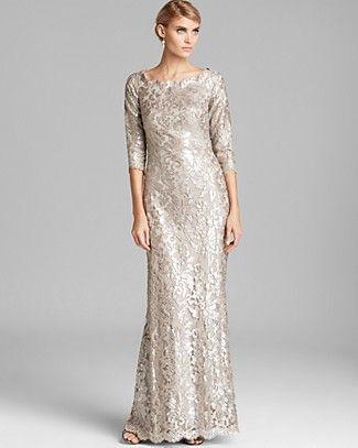 Tadashi Shoji Off-Shoulder Metallic Lace Gown | Bloomingdale\'s ...