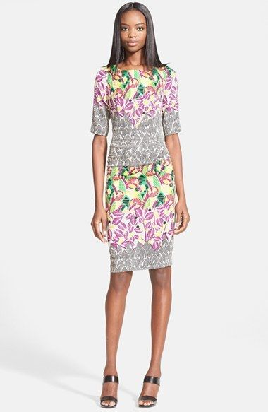 A Simply And Stylish Officestyle For The Warm Season Tracy Reese Mixed Print Stretch Silk T Back Dress