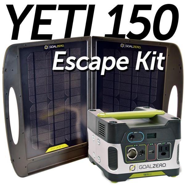 Goal Zero Yeti 150 Escape Kit Solar Kit Goal Zero Solar Panel Battery