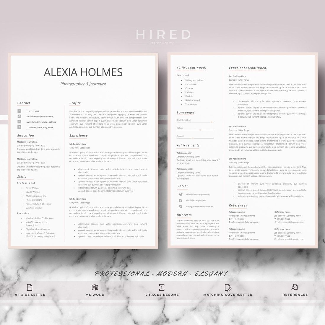 professional  modern and minimalist resume template for word  alexia - 100  editable