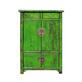 Vintage Chinese Bright Green Rustic Armoire