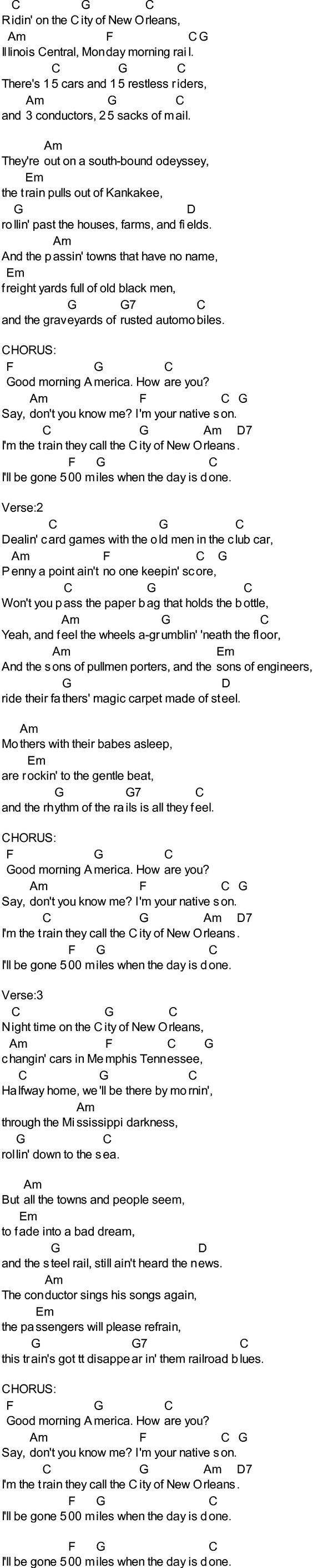 Bluegrass Songs With Chords City Of New Orleans Lyrics Music