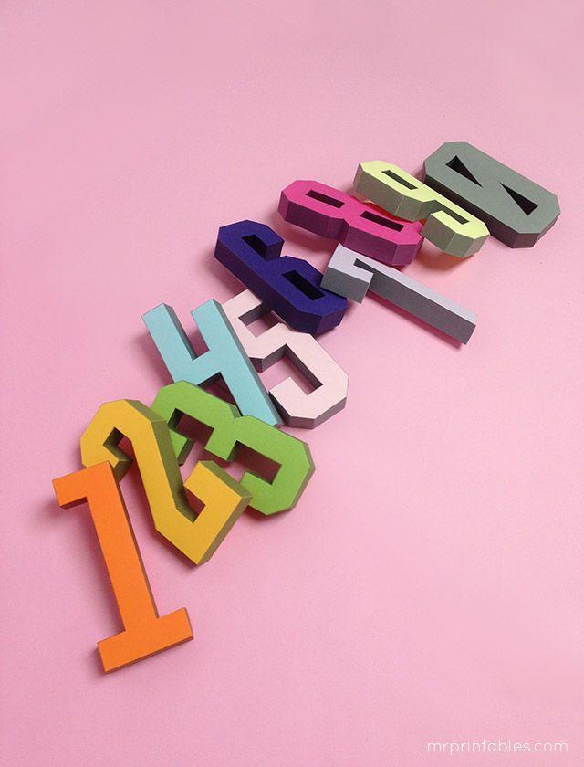 3d Number Paper Craft Templates By Mr Printables Artesanato Em