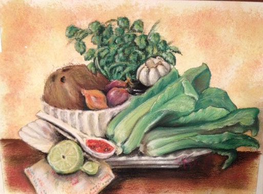 Cilantro and coconut pastel on high rag paper