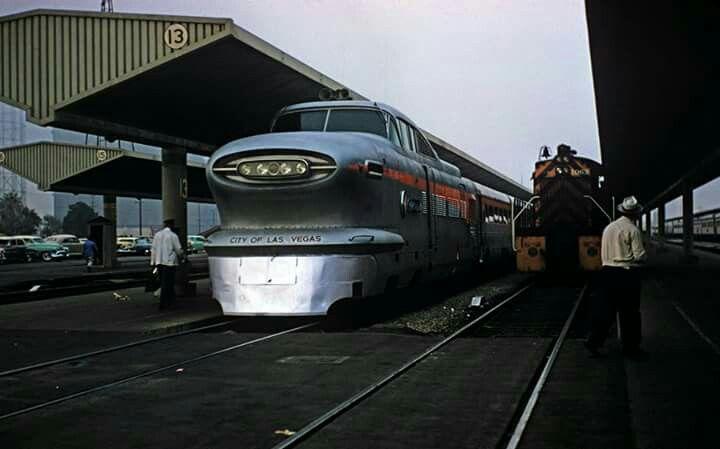 The Aerotrain City Of Las Vegas At Union Station La 1957 Las Vegas City Union Pacific Railroad Union Station