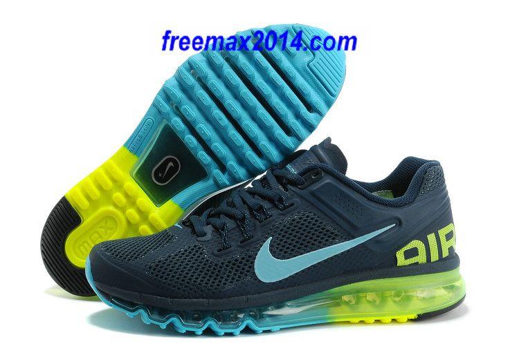 new style b66c5 4a11b Mens Nike Air Max 2013 Armory Navy Gamma Blue Volt Shoes