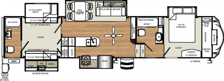 2016 Sierra 381rbok Fifth Wheel By Forest River On Sale Rvn5080 Trundle Bed In Bunkhouse Travel Trailer Floor Plans Rv Floor Plans Fifth Wheel Campers