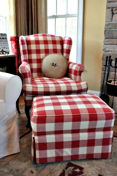 Red And White Buffalo Check Chair And Ottoman Buffalo