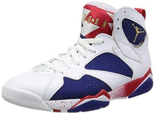 watch 088b7 d7dcb Nike Jordan Men's Air Jordan 7 Retro White/Mtlc Gld Cn Dp Ryl Bl Fr  Basketball Shoe 10 Men US