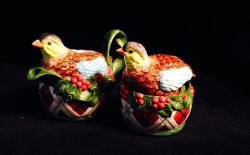 Noritake Royal Hunt Quail Sugar Bowl w Lid Creamer Cream