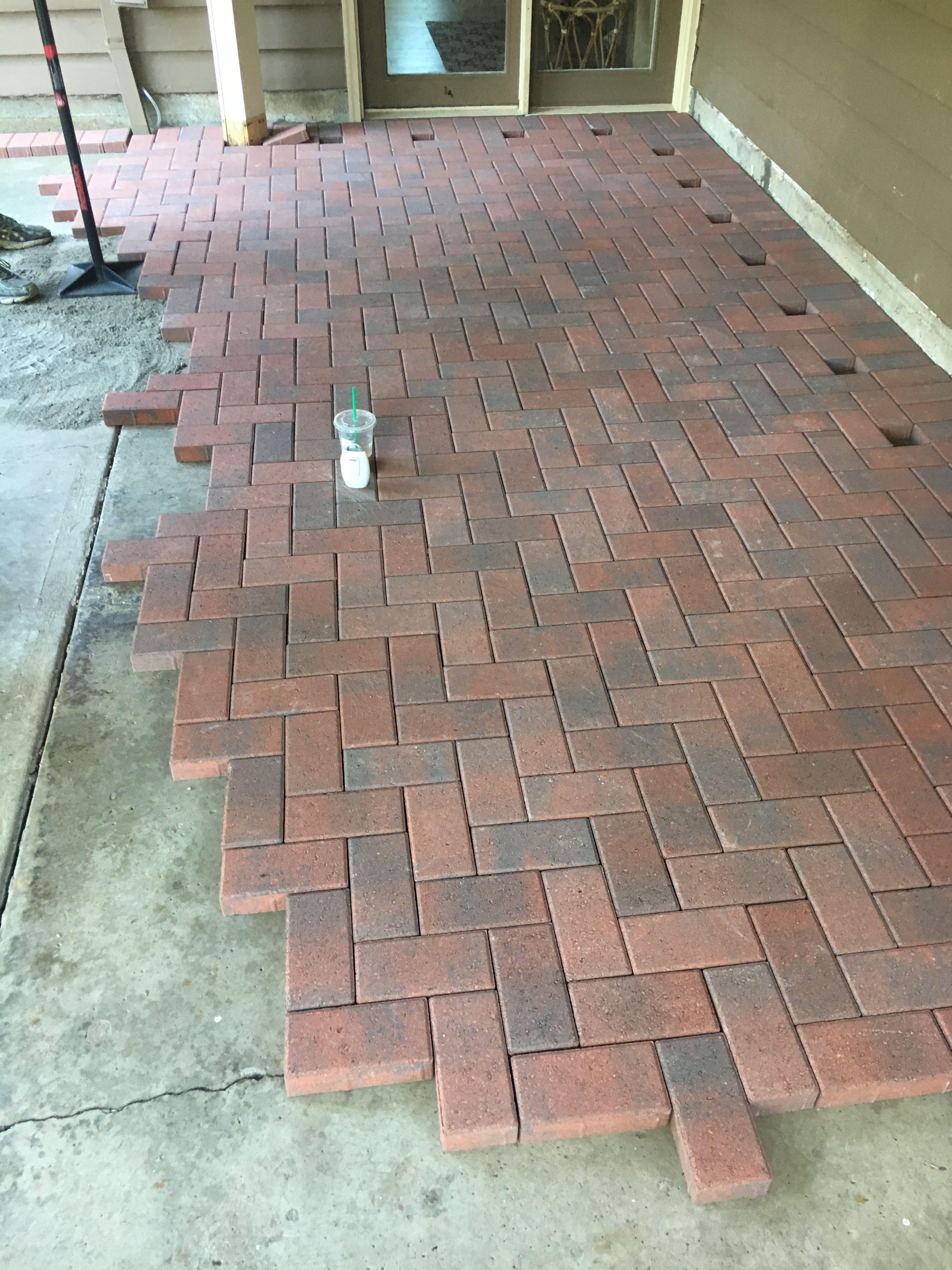 DIY Herringbone Red Brick Pavers | Piso de ladrillo, Piso ... on Red Paver Patio Ideas id=44259