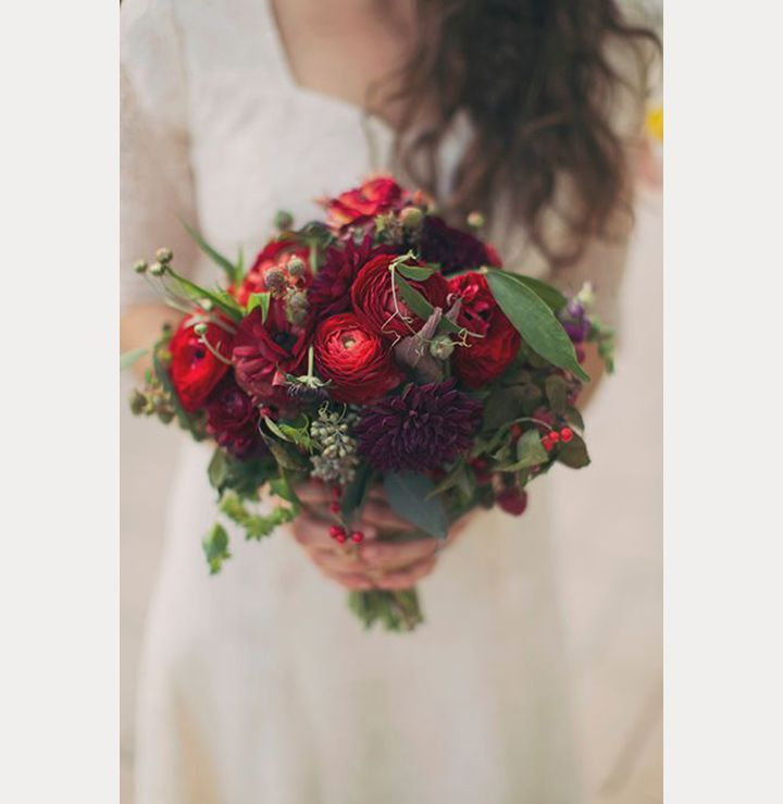 winter bridal bouquet of dark red ranunculus purple dahlias - Red Garden Rose Bouquet