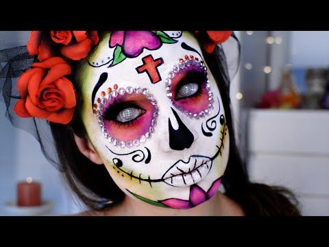 Catrina calavera mexicana maquillaje d a muertos sugar skull glitter mexico halloween makeup - Maquillage dia de los muertos ...