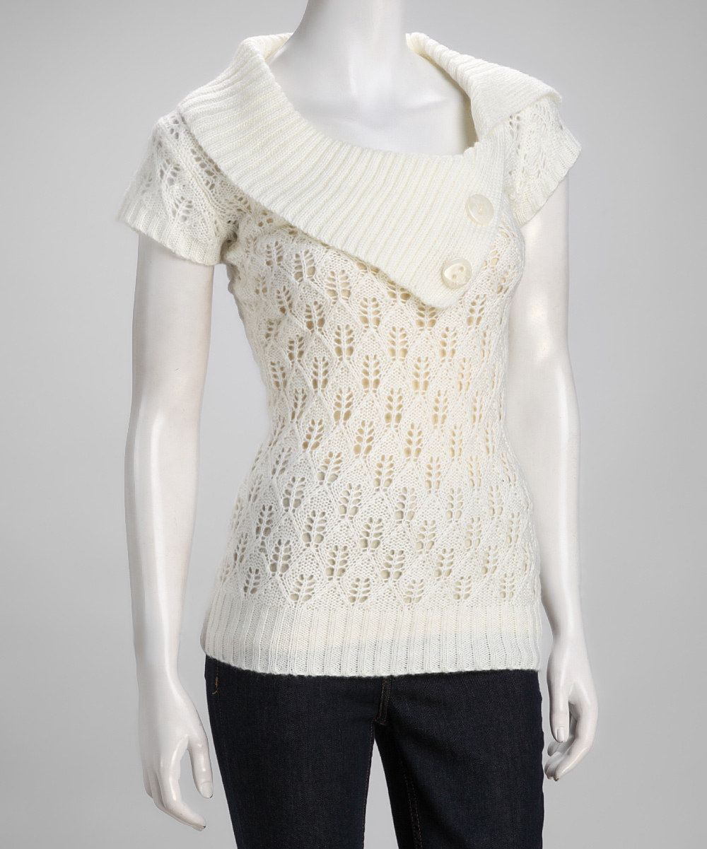 Off-White Cowl Neck Crocheted Sweater | Cowl neck, Sweaters and Ps