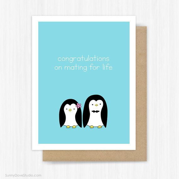 wedding congratulations card for bride and groom couple funny engagement penguin pun bridal shower congrats fun handmade greeting cards gift congratulations