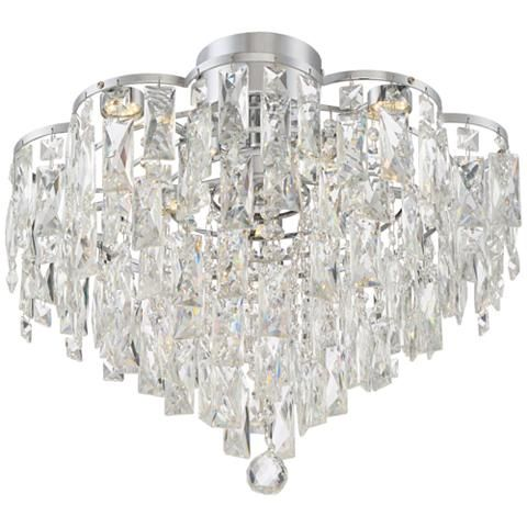 Villette 19 3 4 wide chrome flushmount led ceiling light