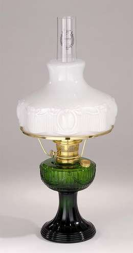 Aladdin Brand Green Glass Lincoln Drape Lamp Antique Lamp Supply