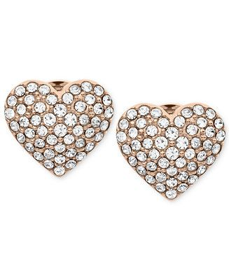 Michael Kors Earrings, Rose Gold-Tone Crystal Heart Stud Earrings - Jewelry & Watches - Macy's